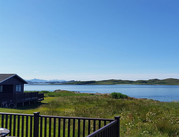 The view from our chalet decking at Port Beag Holiday Chalets