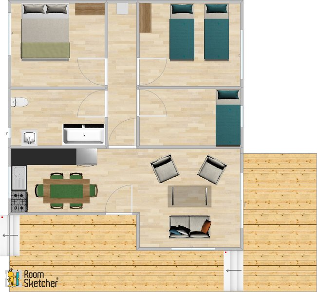 The floor plan of our 3 bedroom chalets at Port Beag Holiday Chalets