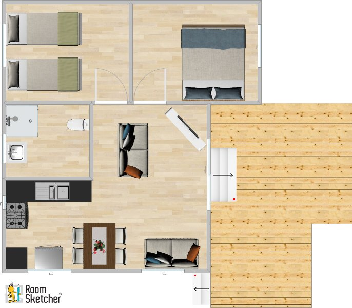 The floor plan of our 2 bedroom chalet at Port Beag Holiday Chalets