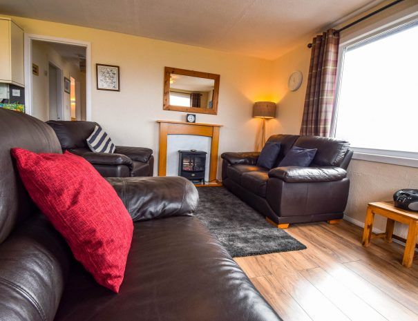 The lounge in our 3 bedroom chalets at Port Beag Chalets