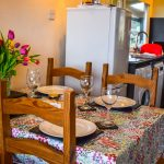 The kitchen in our Rowan 2 bedroom chalet at Port Beag Chalets, Altandhu