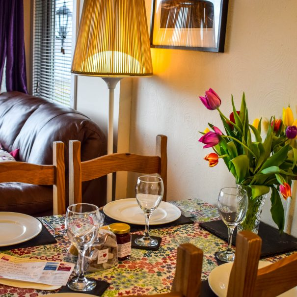 The kitchen & lounge in our Rowan 2 bedroom chalet at Port Beag Chalets, Altandhu